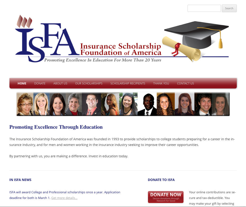 Insurance Scholarship Foundation of America: Website