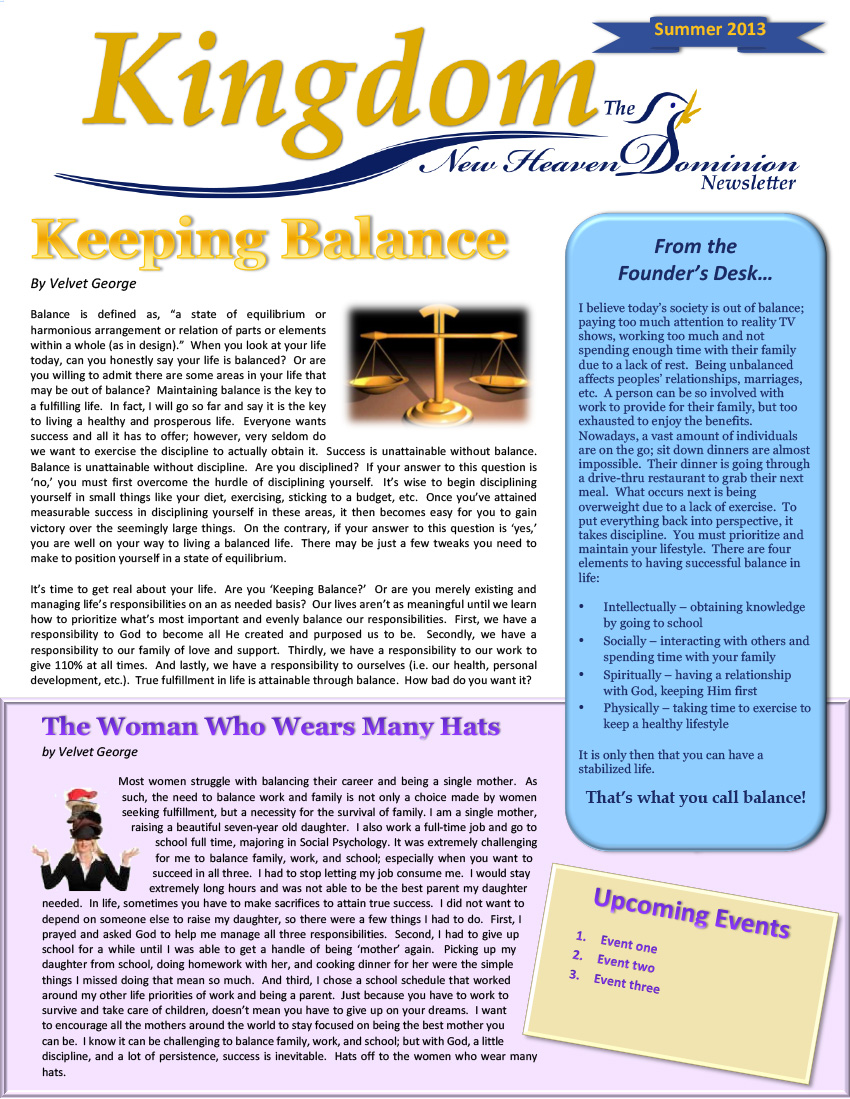 New Heaven Newsletter